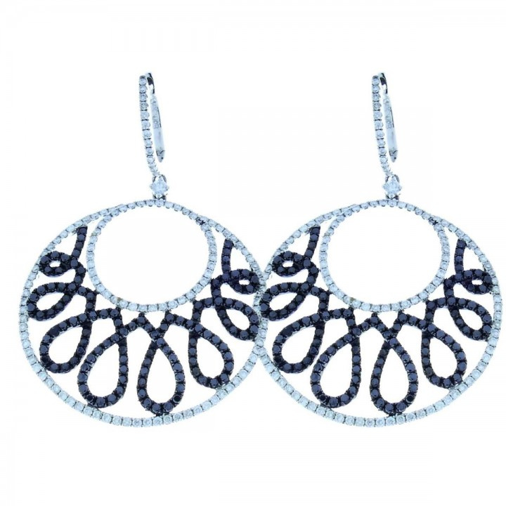 Earrings for women with white and black diamonds. White gold