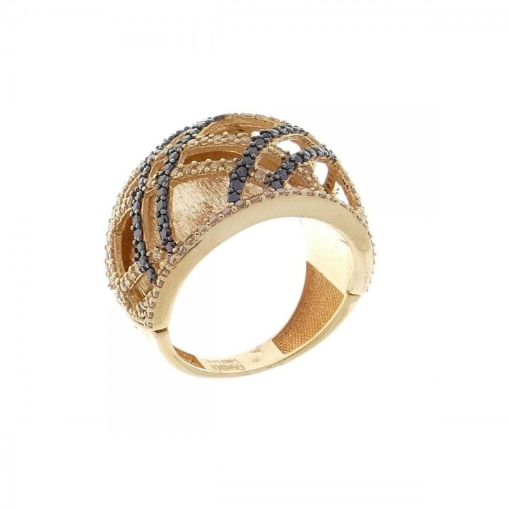Ring for a woman. 585 red gold and zirconium