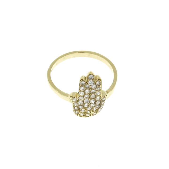 Ring for woman - Hamsa, 14K yellow gold with citrine