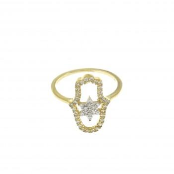 Кольцо для женщины - Хамса, желтое золото 14 карат с цитрином
