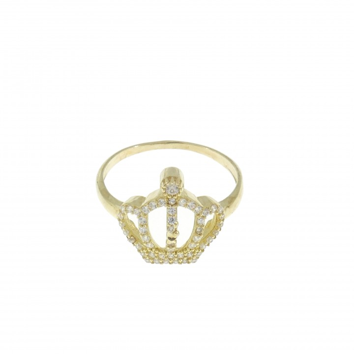 Ring for woman - crown, 14K yellow gold with cubic zirconia