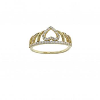 Кольцо для женщины - корона, желтое золото 14 карат с цирконием