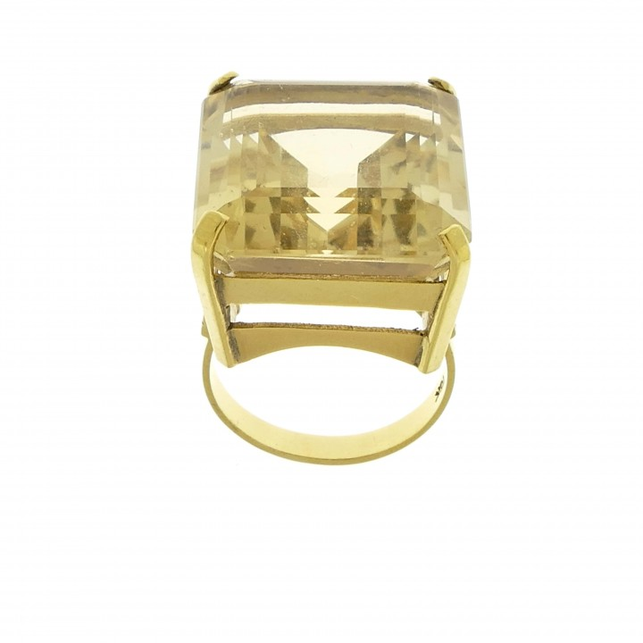 Ring for women, citrine, 14k yellow gold