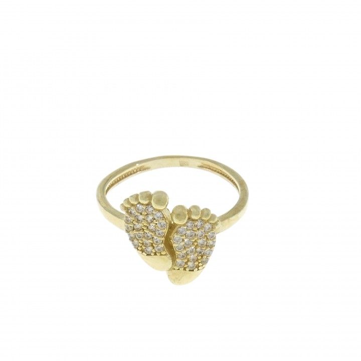 Ring for women, 14K yellow gold with cubic zirconia