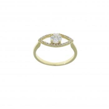 Кольцо для женщины - глаз, жёлтое золото 14 карат с цирконием