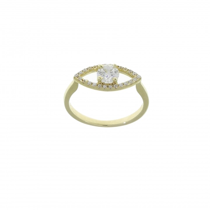 Ring for woman - eye, 14K yellow gold with zirconia