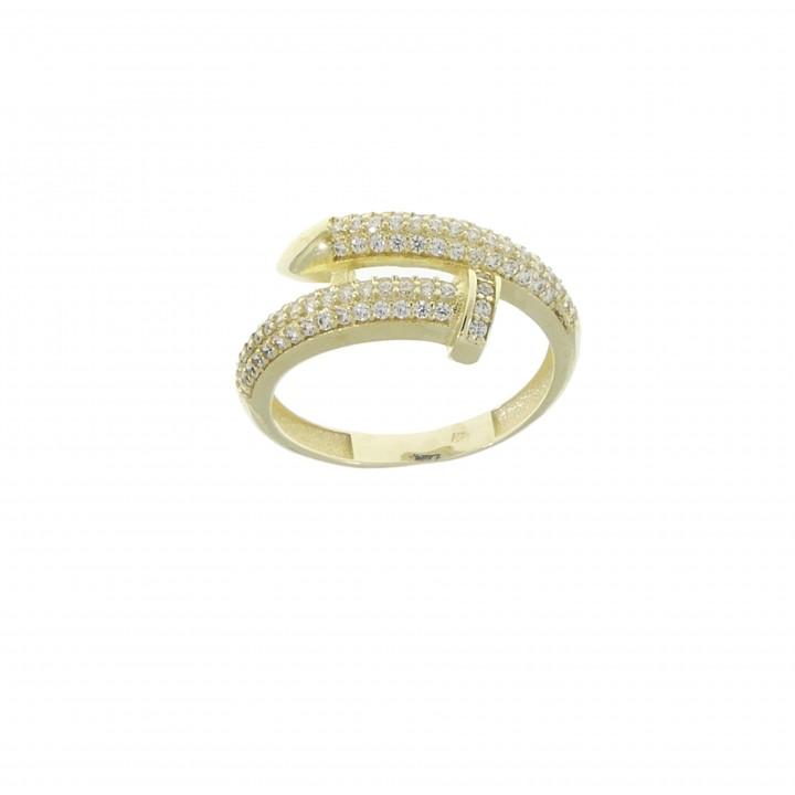 Женское кольцо, желтое золото 14 карат с цирконием