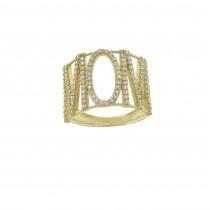 טבעת לאישה - אמא, זהב צהוב 14 קראט עם זירקונים מעוקבים
