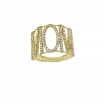 Кольцо для женщины - Мама, желтое золото 14 карат с цирконием