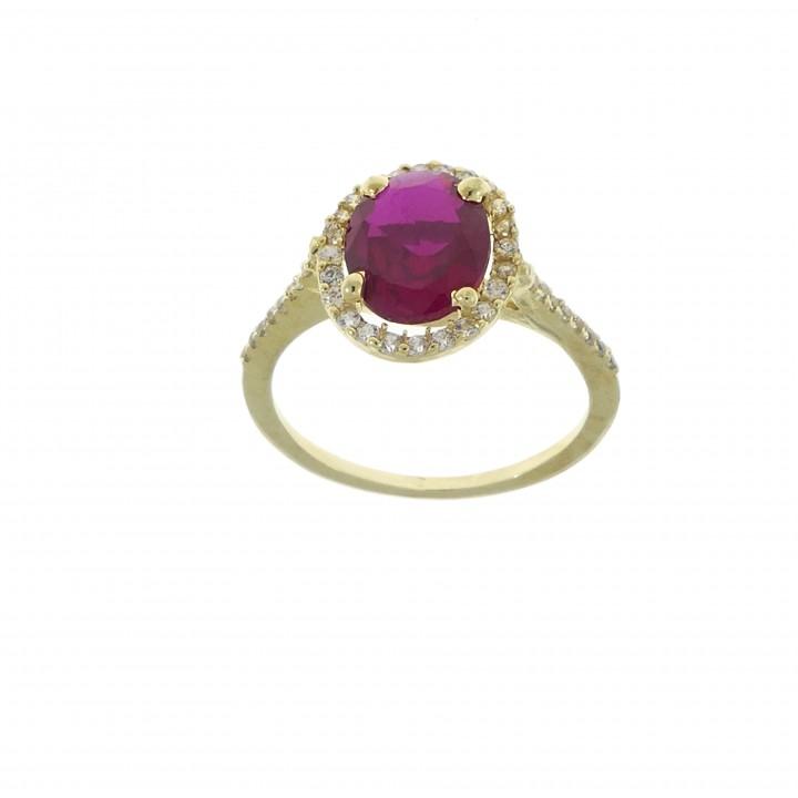 Кольцо для женщины, жёлтое золото 14 карат с рубином/сапфиром/топазом и цирконием