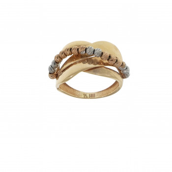 Ring for a woman, 14 kt red and white gold