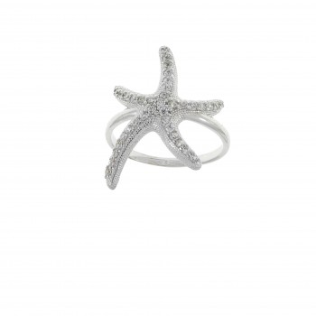 Кольцо для женщины - звезда, белое золото 14 карат с цирконием