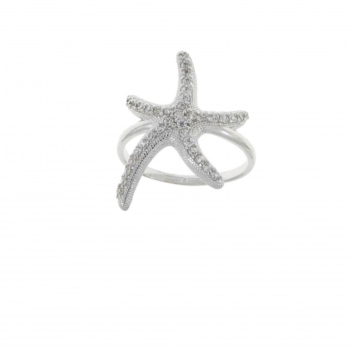 Ring for women - star, 14K white gold with cubic zirconia