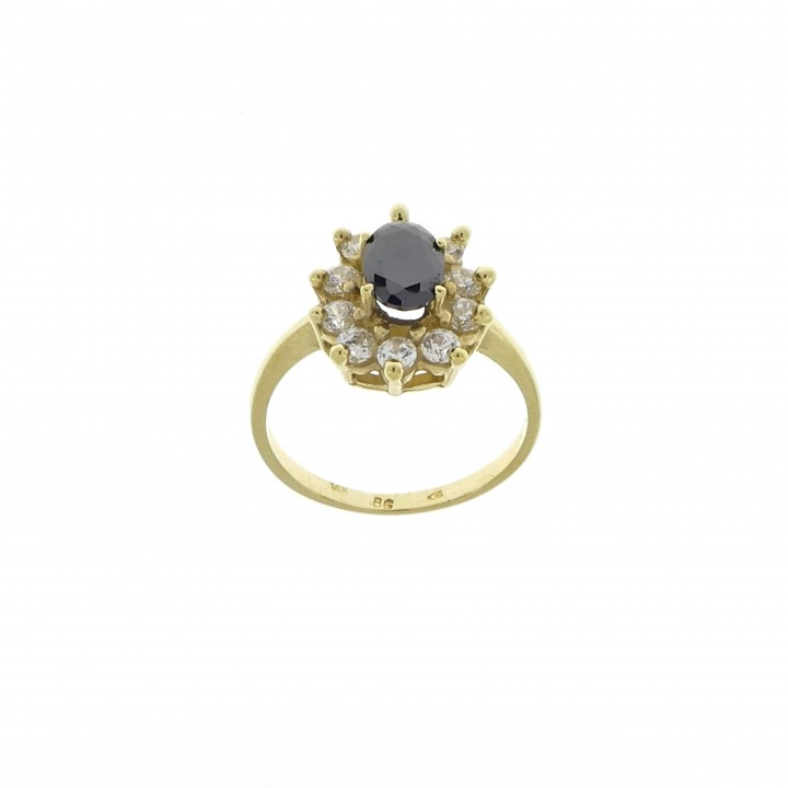 Ring for a woman, ruby and cubic zirkonia, 14K yellow gold