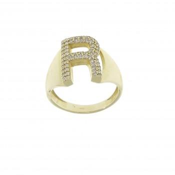 Кольцо для женщины, жёлтое золото 14 карат с цирконием
