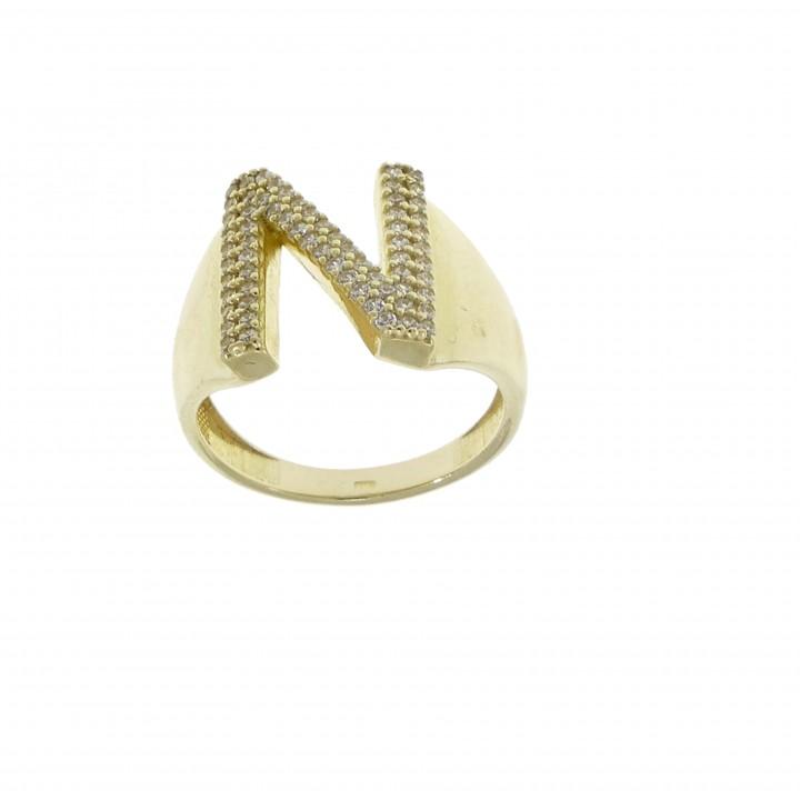 Женское кольцо, жёлтое золото 14 карат с цирконием