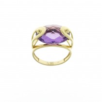 Ring for a woman, amethyst, 14K yellow gold