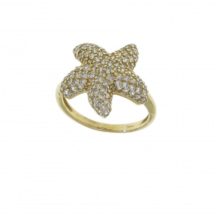 Женское кольцо, желтое золото 14 карат