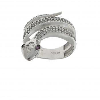 Кольцо для женщины, белое золото 14 карат с цирконием