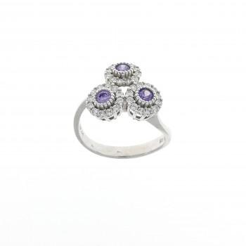 Кольцо для женщины, аметист и фианиты, белое золото 14 карат