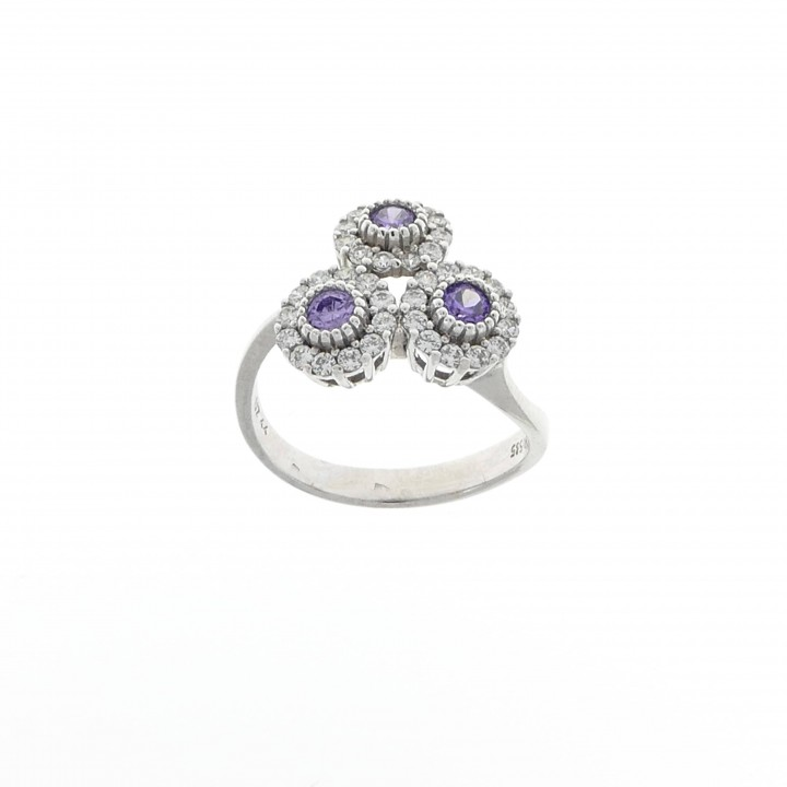 Ring for a woman, amethyst and cubic zirkon, 14K white gold