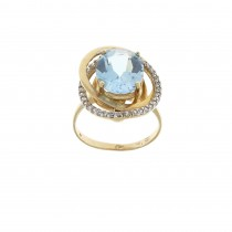 Ring for a woman, blue topaz and cubic zirkonia, 14K yellow gold