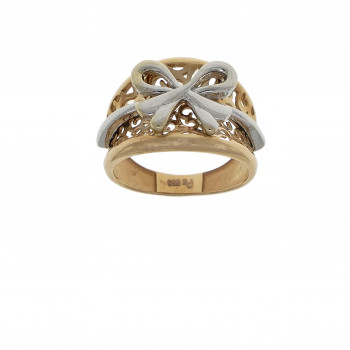 Ring for a woman, 14K red and white gold