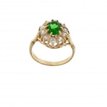 Кольцо для женщины, изумруд и фианиты, желтое золото 14 карат