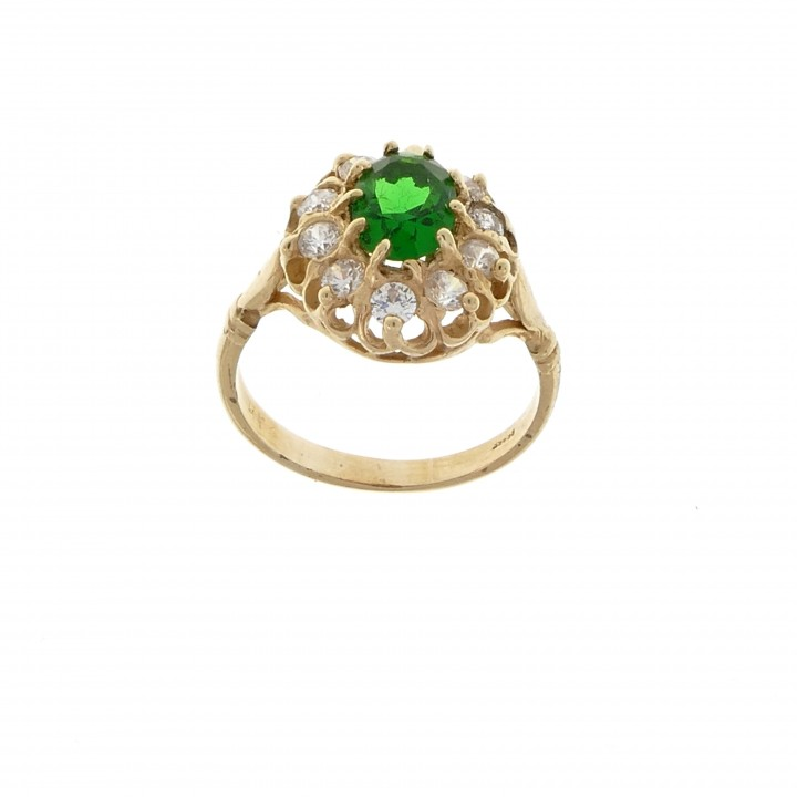 Ring for a woman, emerald and cubic zirkonia, 14K yellow gold