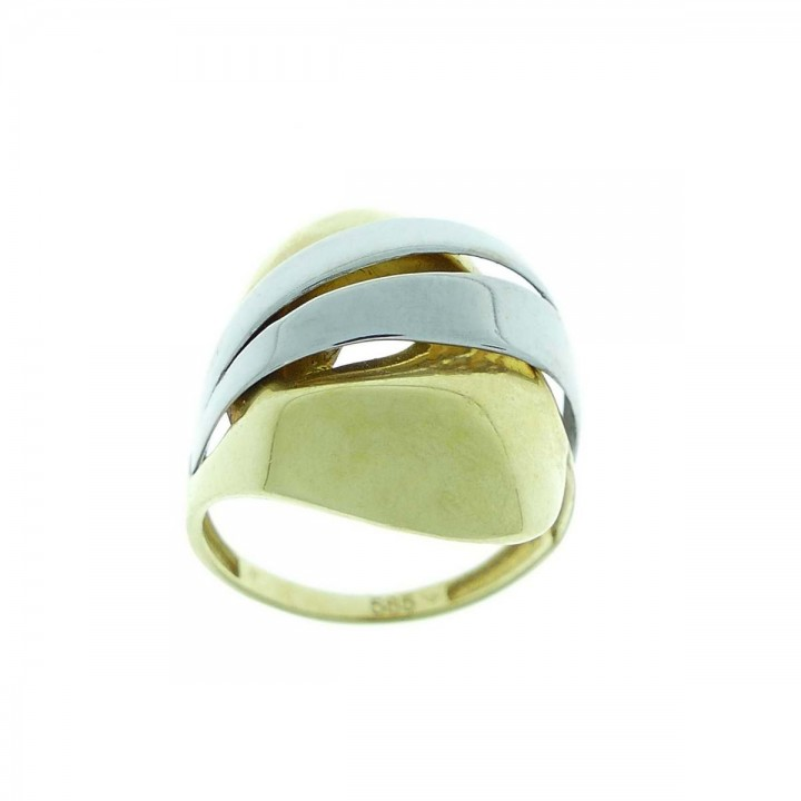 Ring for a woman, 14K yellow and white gold