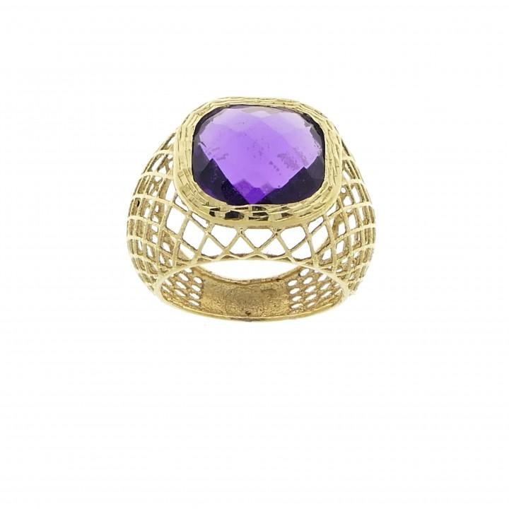 Кольцо для женщины, аметист, желтое золото 14 карат