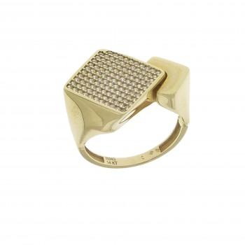 Кольцо для женщины, желтое золото 14 карат с цирконием