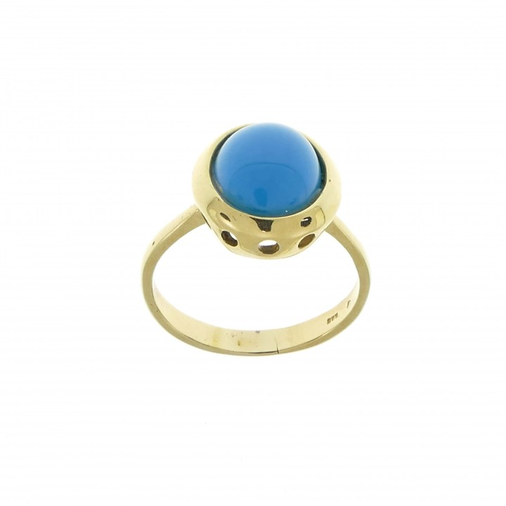 Ring for women with turquoise, 14K yellow gold
