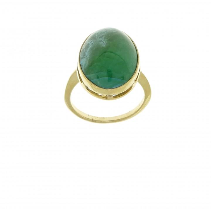 Ring for women, jade, 14k yellow gold