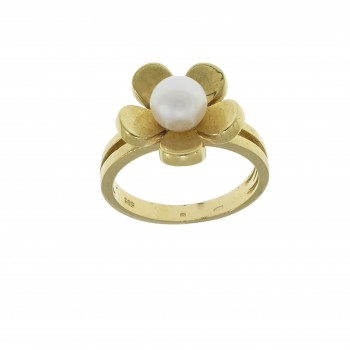 Ring for a woman, 14K yellow gold with pearls