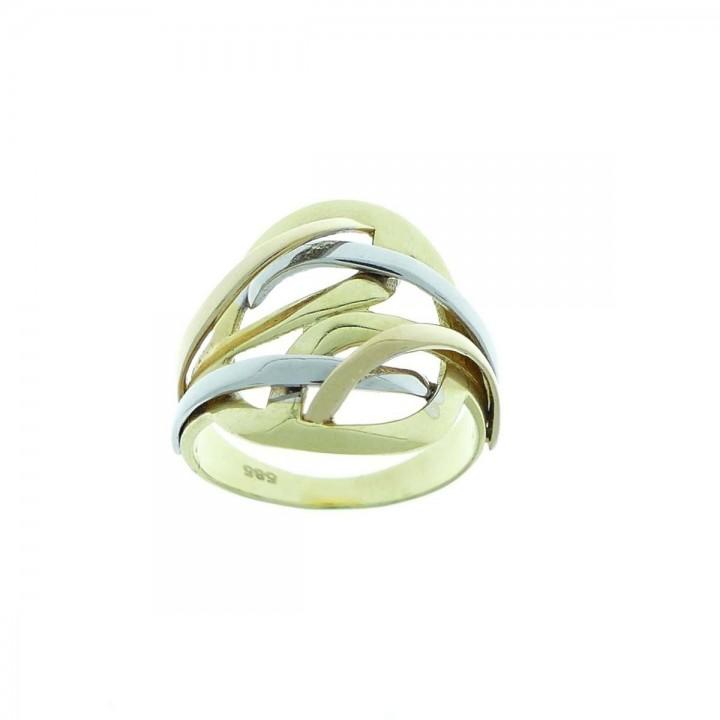טבעת לאישה, זהב לבן צהוב לבן 14 קראט