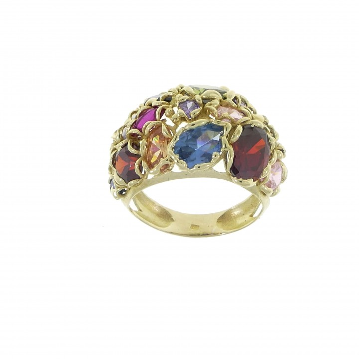 Ring for woman, multicolor, 14K yellow gold