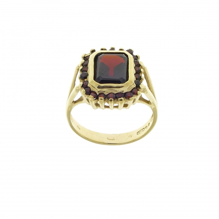 Ring for woman, garnet, 14k yellow gold