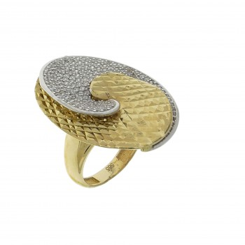 Ring for a woman, 14K yellow and white gold with cubic zirconia