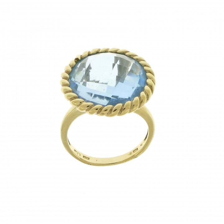 Ring for woman, blue topaz, 14k yellow gold