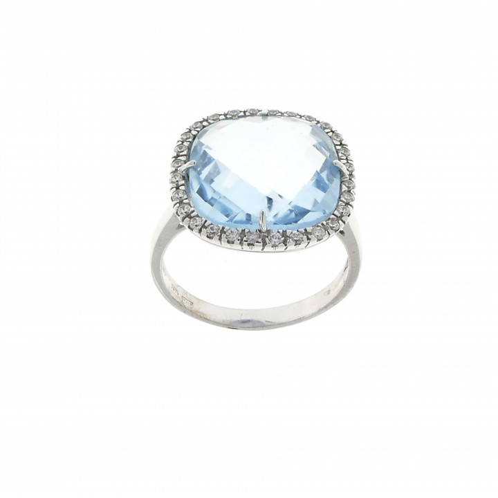 Ring for women with topaz, 14K white gold