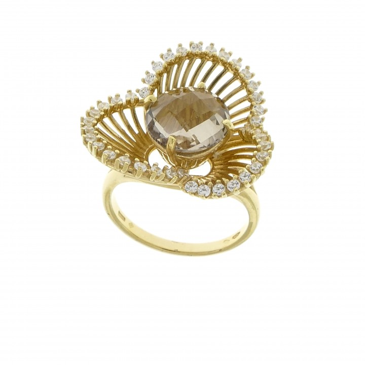 Ring for women, crystal, 14k yellow gold