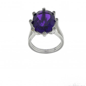 Ring for a woman, amethyst, 14k white gold