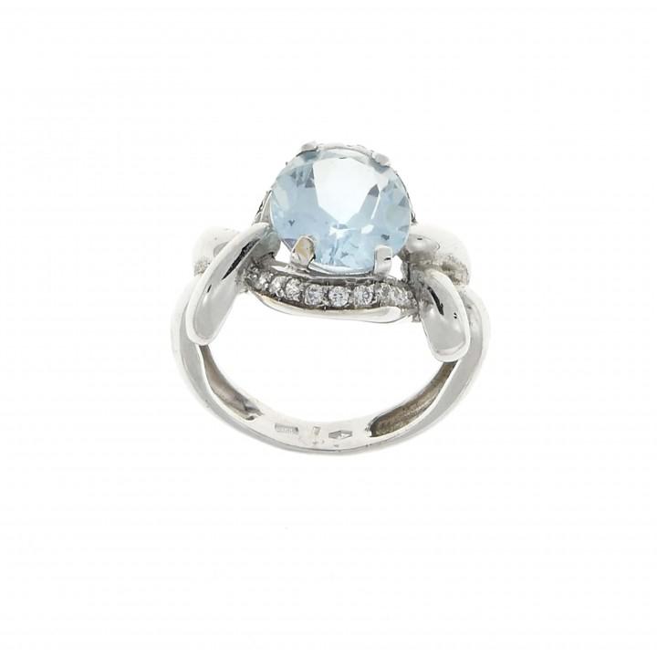 Ring for women with topaz, 14K white gold