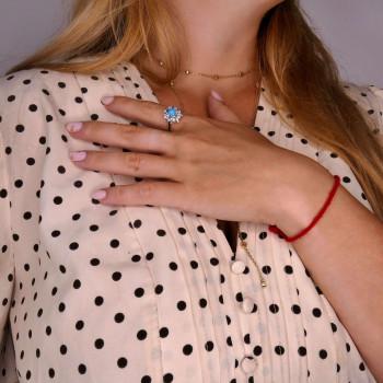 Кольцо для женщины с бирюзой, белое золото 14 карат
