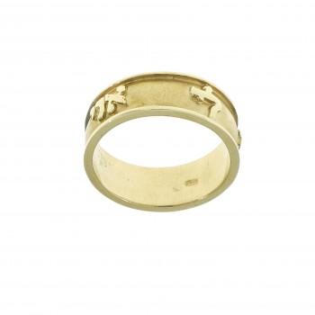 Кольцо для женщины с гравировкой, жёлтое золото 14 карат