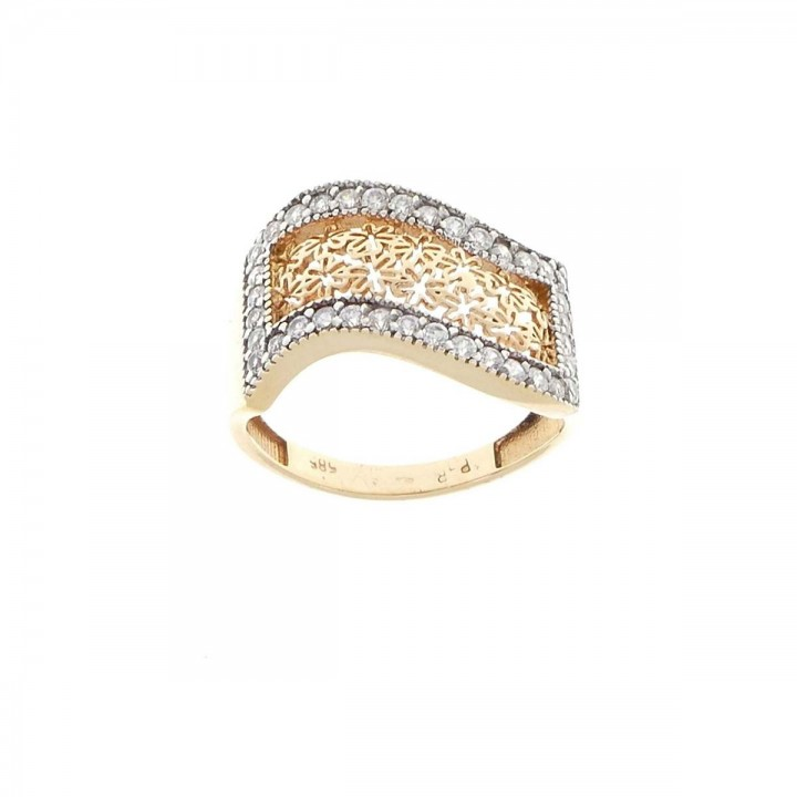 Ring for women, 14k red gold with zirconium
