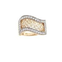 Кольцо для женщины, красное золото 14 карат с белым цирконием