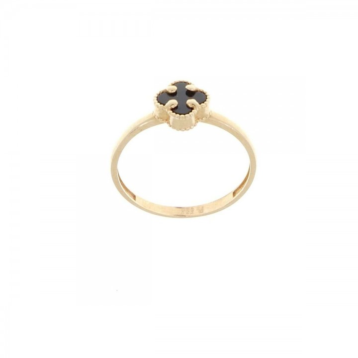 Ring for women, 14k red gold with onyx