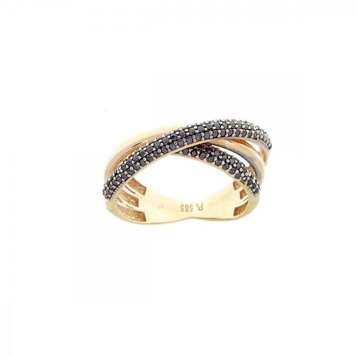 Кольцо для женщины, красное золото 14 карат с черным цирконием